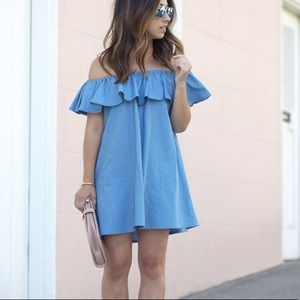 Zara Woman chambray off shoulder ruffle dress